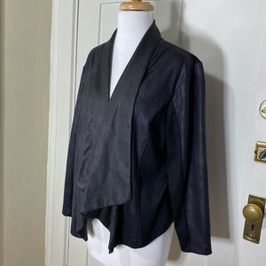 Style & Co. Navy black faux leather open blazer